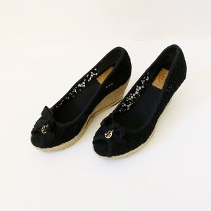"Tory Burch ""Jackie"" Black Lace Espadrille Wedges"